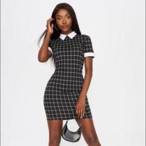 Collar contrast mini dress